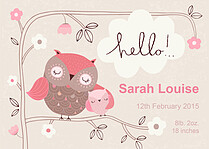 Precious Owlet Birth Announcements Flat Cards - Front