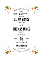 Autumnal Foliage Invite Wedding Invites Flat Cards - Front