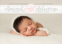 Beautiful Bundle Coral Birth Announcements Flat Cards - Front