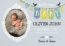 Clothesline Cheer Blue Birth Announcements Flat Cards - Front