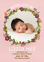 Little Nugget Pink Birth Announcements Flat Cards - Front