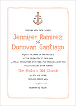 Lovely Harbor Invite Coral Wedding Invites Flat Cards - Front