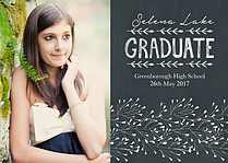 Serene Salute Chalk Graduation Flat Cards - Front