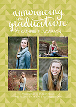 Terrific Triumph Green Graduation Flat Cards - Front