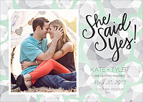 Bling Date Green Save the Date Flat Cards - Front