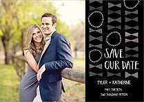 Bowties Date Black Save the Date Flat Cards - Front