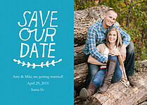 Breezing Beauty Date Blue Save the Date Flat Cards - Front