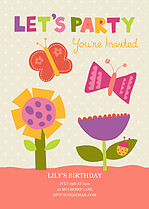 Butterfly Delight Birthday Party Invitations Flat Cards - Front
