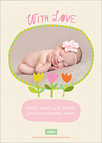 Chirping Cheer Birth Announcements Flat Cards - Back