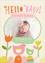 Chirping Cheer Birth Announcements Flat Cards - Front