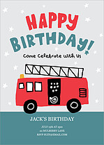Firefighter Fun Birthday Party Invitations Flat Cards - Front