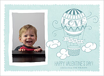 Floating Fun Blue Valentine's Day Flat Cards - Front