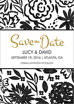 Inkblot Date Black Save the Date Flat Cards - Front