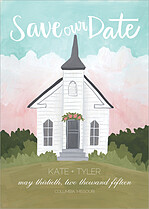 Little Chapel Date Save the Date Flat Cards - Front