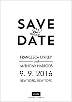 Modern Romance Date Save the Date Flat Cards - Back