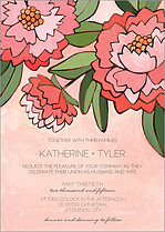 Peaceful Peonies Invite Wedding Invites Flat Cards - Front