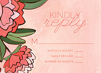 Peaceful Peonies RSVP RSVP Flat Cards - Front