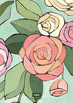 Radiant Roses Invite Wedding Invites Flat Cards - Back