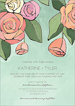 Radiant Roses Invite Wedding Invites Flat Cards - Front