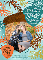 Acorn Branches Thanksgiving Flat Cards - Front