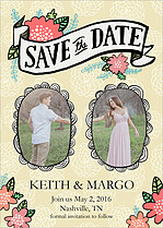 Charming Portraits Pastels Save the Date Flat Cards - Front