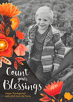 Count Your Blessings Thanksgiving Flat Cards - Front