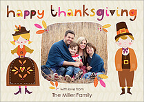 Folk People Thanksgiving Flat Cards - Front