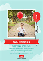 Birthday Balloon Birthday Party Invitations Flat Cards - Back