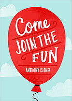 Birthday Balloon Birthday Party Invitations Flat Cards - Front