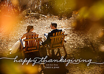 Happy Script Thanksgiving Flat Cards - Front