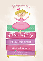 Princess Party Birthday Party Invitations Flat Cards - Front