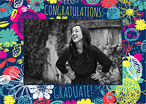 Fantastic Floral Graduation Flat Cards - Front