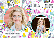 Feather Trail Graduation Flat Cards - Front
