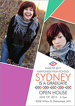 Flashy Fusion Graduation Flat Cards - Front