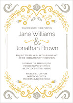 Refined Invite Silver Wedding Invites Flat Cards - Front