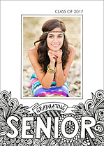 Senior Sketch Graduation Flat Cards - Front