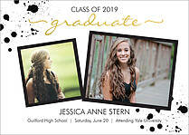 Senior Splatter Graduation Foil Pressed Cards - Front