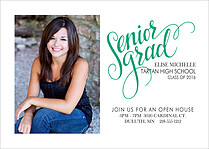 Serene Script Green Graduation Flat Cards - Front
