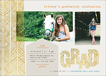 Tasteful Shine White Graduation Foil Pressed Cards - Front