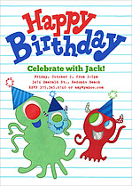Cute Creatures Birthday Party Invitations Flat Cards - Front