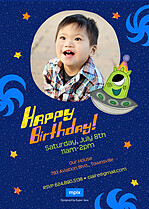 Spaceship Surprise Birthday Party Invitations Flat Cards - Back