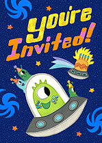 Spaceship Surprise Birthday Party Invitations Flat Cards - Front