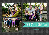 Plaid Pictage Gray Christmas Flat Cards - Front