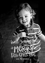 Merry Full Frame White Christmas Flat Cards - Front