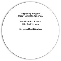 Dotted Circle Orange Birth Announcements Flat Cards - Back