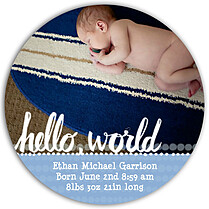 Dots Band Blue Circle Birth Announcements Flat Cards - Front