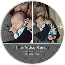 Plaid and Aqua Circle Birth Announcements Flat Cards - Front