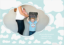Clouds Single Birth Announcements Flat Cards - Front