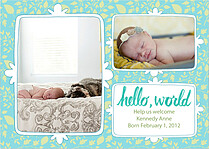 Flower Pattern Aqua Birth Announcements Flat Cards - Front