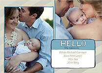 Hello My Name Is Blue Birth Announcements Flat Cards - Front